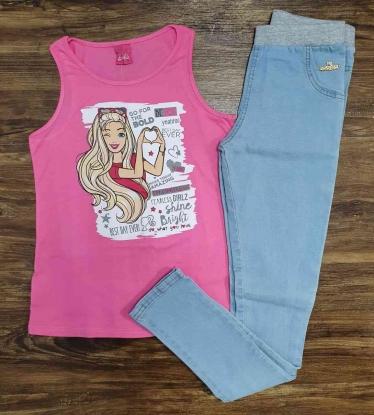 Blusinha Regata com Calça Jeans Infantil