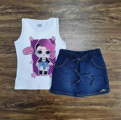 Blusinha Regata LOL Com Shorts Jeans Infantil