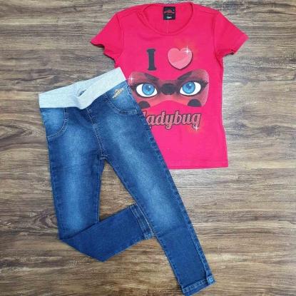 Blusinha Rosa I Love com Calça Jeans Infantil