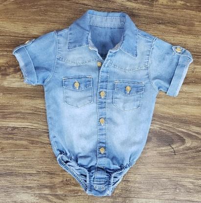 Body Jeans Claro Manga Curta