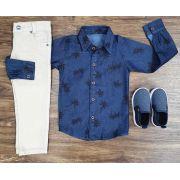 Calça Areia com Camisa Social Jeans Coqueiro