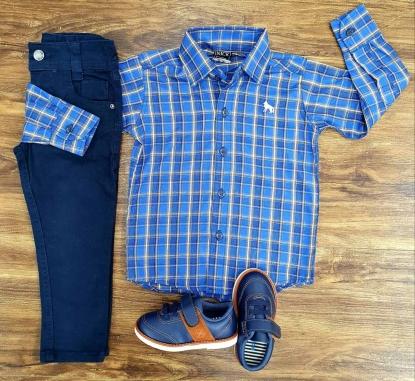 Calça Jeans Azul Marinho com Camisa Xadrez Infantil