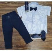 Calça Azul Marinho com Suspensório e Camisa Balões com gravata