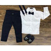 Calça Azul Marinho com Suspensório e Camisa Manga Longa com Gravata