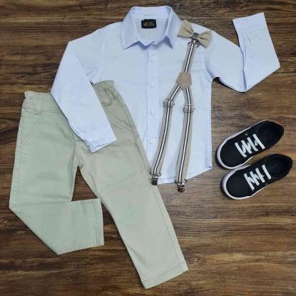 Calça Bege com Suspensório e Camisa Social Branca com Gravata