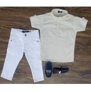 Calça Branca com Camisa Bata Creme