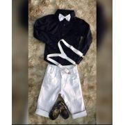 Calça Branca com Camisa Manga Longa Azul Marinho mais Suspensório e Gravata