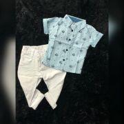 Calça Branca com Camisa Social Manga Curta Coroa