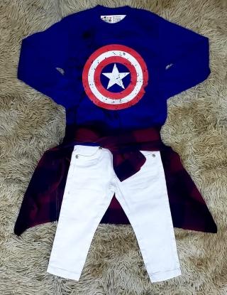 Calça Branca com Camiseta Capitão América e Camisa Xadrez