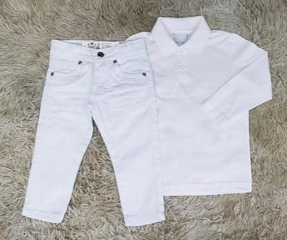 Calça Branca com Polo Manga Longa