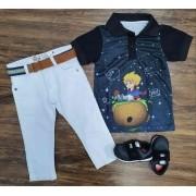 Calça Branca com Polo Pequeno Príncipe