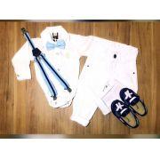 Calça Branca com Suspensório e Body Social com Gravata - Look Batizado