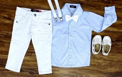 Calça Branca com Suspensório e Camisa Manga Longa com Gravata