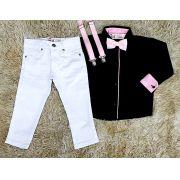 Calça Branca com Suspensório e Camisa Social com Gravata - Look Mundo Bita