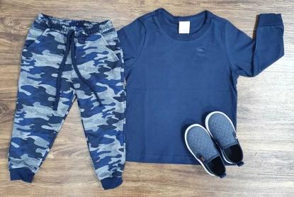 Calça Camuflada com Camiseta Manga Longa Azul Marinho Infantil