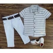 Calça com Camisa Listrada Infantil