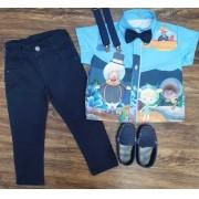 Conjunto Calça Bita Fundo do Mar Azul Infantil