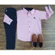 Calça com Camisa Social Rosa Infantil