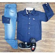 Calça Jeans Clara com Camisa Azul Social Infantil