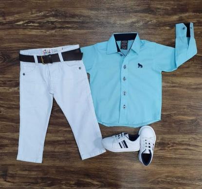 Calça Branca com Camisa Social Azul Infantil