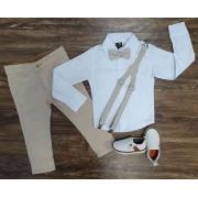 Calça Nude com Camisa Branca Social Infantil