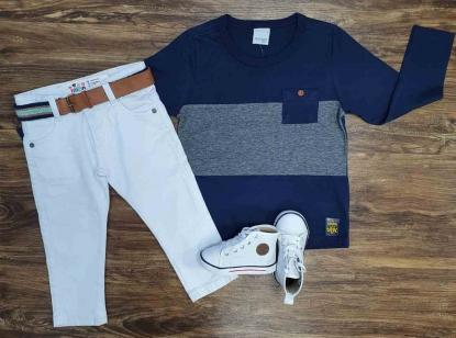 Calça Branca com Camiseta com Bolso Infantil