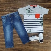 Calça com Camiseta Listrada Infantil