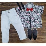 Calça com Suspensório e Camisa Snoopy Com Gravata Infantil