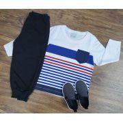 Calça de Moletom Preta com Camiseta Manga Longa Listrada Infantil