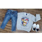 Calça Jeans com Blusa Moletom Patrulha Canina Infantil