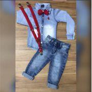Calça Jeans com Camisa Jeans mais Suspensório e Gravata