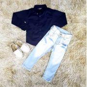 Calça Jeans com Camisa Manga Longa Azul Marinho