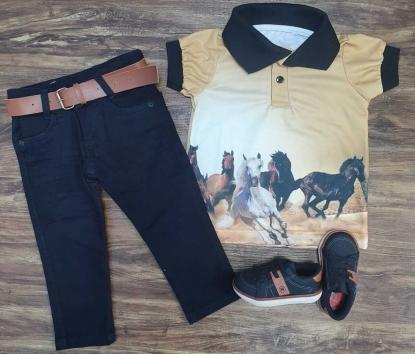 Calça Jeans com Camisa Polo Cavalos Infantil