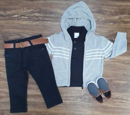 Calça Jeans com Camisa Polo mais Jaqueta Infantil