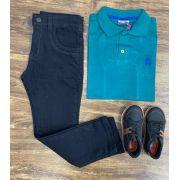 Calça Jeans com Camisa Polo Verde Infantil