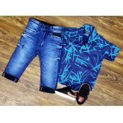 Calça Jeans com Camisa Social Azul