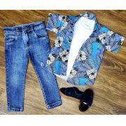 Calça Jeans com Camiseta Branca e Camisa Floral Infantil