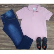 Calça Jeans Com Camiseta Polo Rosa Infantil