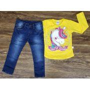 Calça Jeans Com Camiseta Unicórnio Amarela