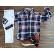 Calça Jeans com Camisa Xadrez Infantil