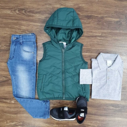 Calça Jeans com Colete e Camisa Polo Manga Longa Infantil