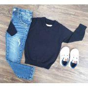 Calça Jeans com Suéter Preto Infantil