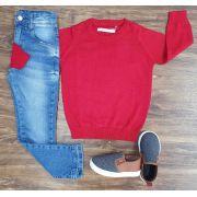 Calça Jeans com Suéter Vermelho