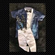 Calça Jeans com Suspensório, Camisa Social Branca com Gravata e Camisa Jeans Curta