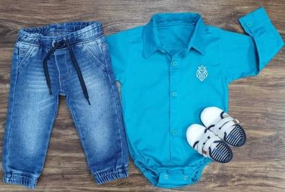 Calça Jeans Jogger com Body Infantil