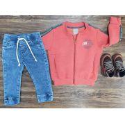 Calça Jeans Jogger com Jaqueta Infantil