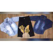 Calça Jeans Preta com Camisa Jeans