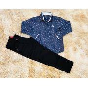 Calça Jeans Preta com Camisa Social Nick Kids Estampada