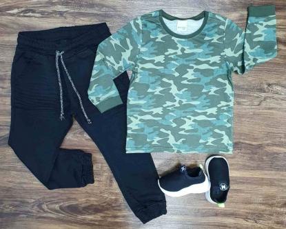 Calça Jogger com Camiseta Camuflada Infantil