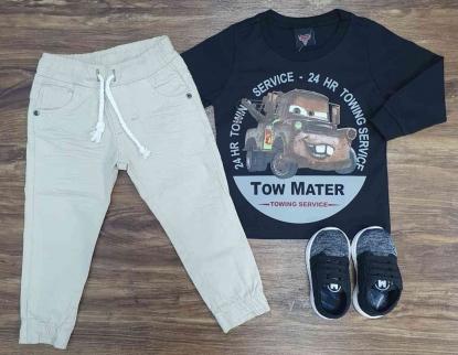 Calça Jogger com Camiseta Carros Preta Infantil